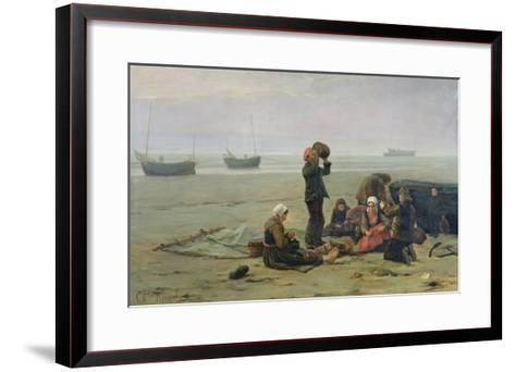 Waiting For the Fish, Berck-Sur-Mer-Charles Emmanuel Joseph Roussel-Framed Art Print