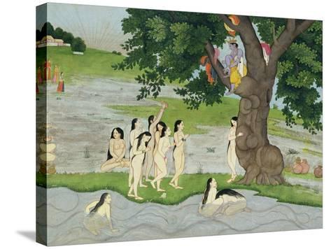 Krishna Steals the Clothes of Gopies, from the Bhagavata Purana, Kangra, Himachal Pradesh, 1780--Stretched Canvas Print