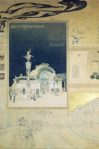 Stadtbahn Pavilion, Vienna Underground Railway, Exterior and a View of the Railway Platform-Otto Wagner-Stretched Canvas Print