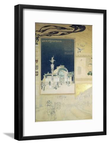 Stadtbahn Pavilion, Vienna Underground Railway, Exterior and a View of the Railway Platform-Otto Wagner-Framed Art Print