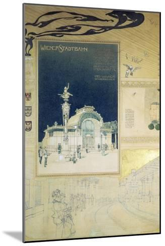 Stadtbahn Pavilion, Vienna Underground Railway, Exterior and a View of the Railway Platform-Otto Wagner-Mounted Giclee Print