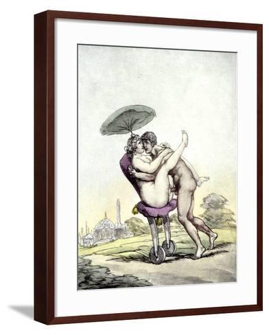Couple Having Sex on a Wheeled Stool, 1808-17-Thomas Rowlandson-Framed Art Print