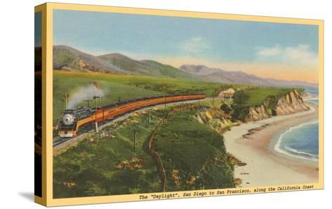 Train along California Coast--Stretched Canvas Print