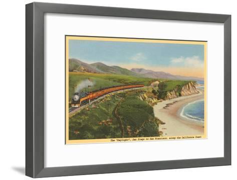Train along California Coast--Framed Art Print