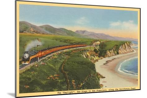 Train along California Coast--Mounted Art Print