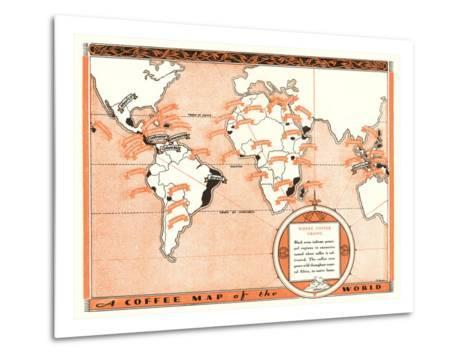 Coffee Map of the World--Metal Print