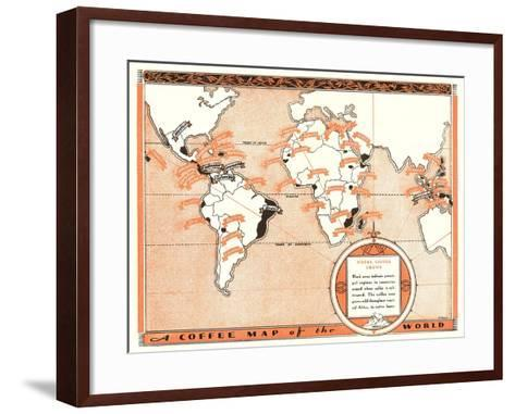 Coffee Map of the World--Framed Art Print