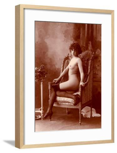 Nude Woman in Black Tights--Framed Art Print