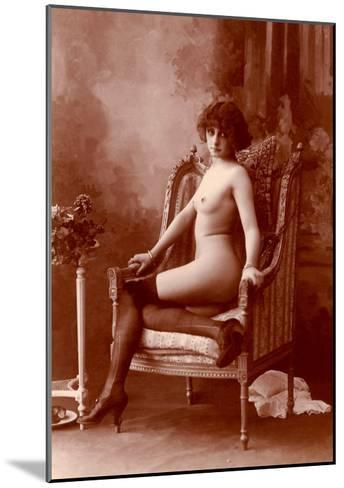 Nude Woman in Black Tights--Mounted Art Print