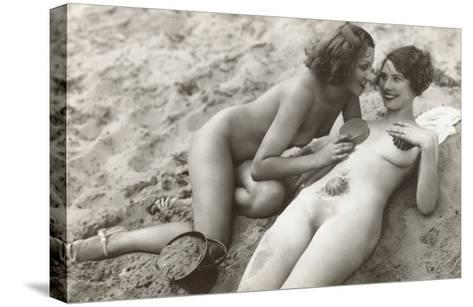 Two Nudes on Beach--Stretched Canvas Print
