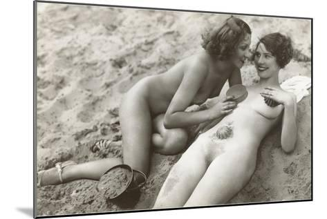 Two Nudes on Beach--Mounted Art Print