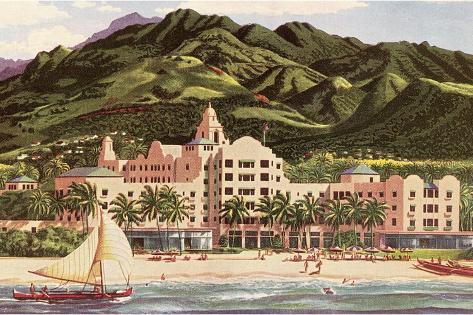 Royal Hawaiian Hotel, Hawaii--Stretched Canvas Print