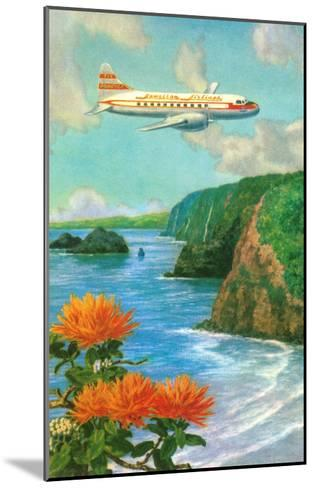 Airliner over Hawaii--Mounted Art Print