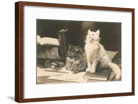 The Bookkeepers, Cats on Desk--Framed Art Print