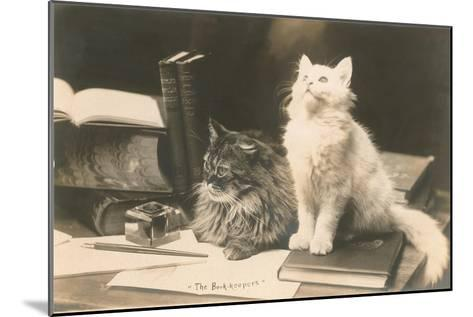 The Bookkeepers, Cats on Desk--Mounted Art Print