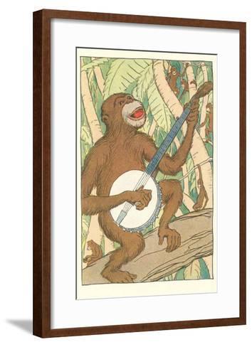 Chimp Playing Banjo--Framed Art Print