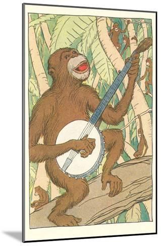 Chimp Playing Banjo--Mounted Art Print
