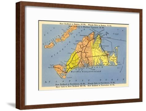 Map of Martha's Vineyard, Massachusetts--Framed Art Print