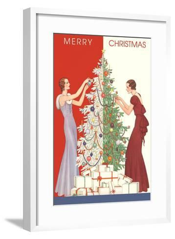 Deco Merry Christmas with Tree and Presents--Framed Art Print