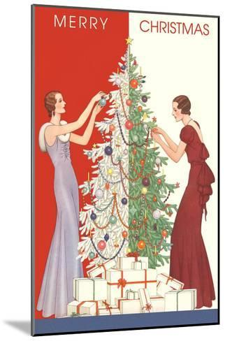 Deco Merry Christmas with Tree and Presents--Mounted Art Print