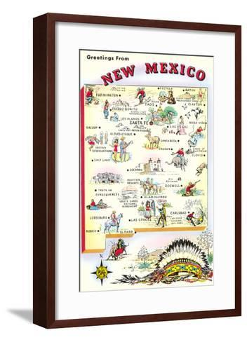 Map of New Mexico--Framed Art Print