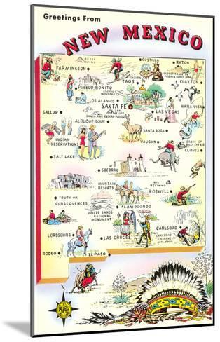 Map of New Mexico--Mounted Art Print
