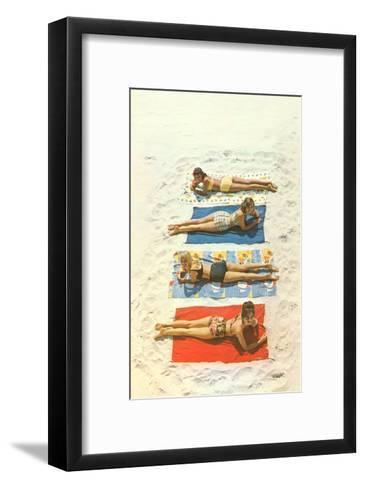 Four Girls on Beach Towels--Framed Art Print