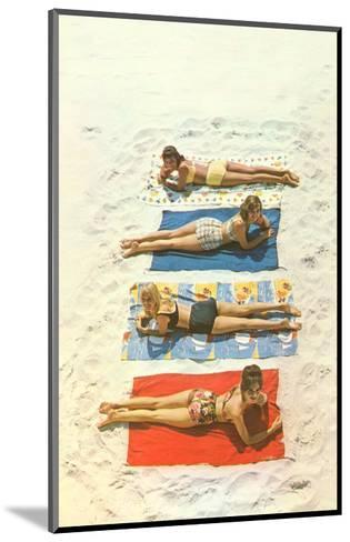 Four Girls on Beach Towels--Mounted Art Print