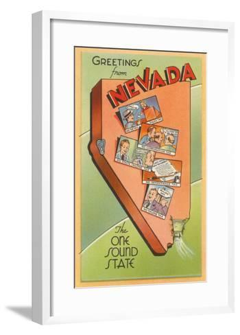 Greetings from Nevada, Map--Framed Art Print