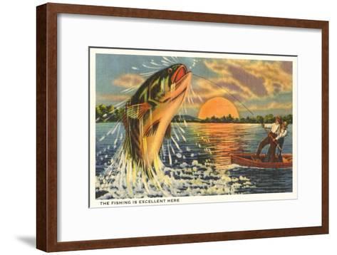 Fishing at Sunset--Framed Art Print