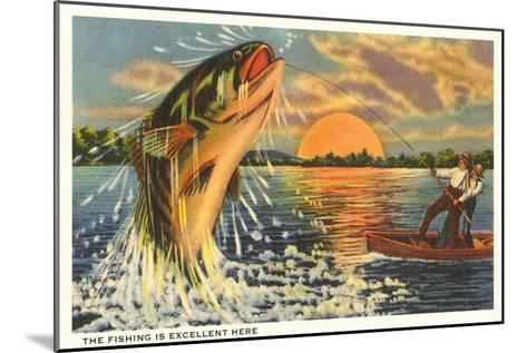 Fishing at Sunset--Mounted Art Print