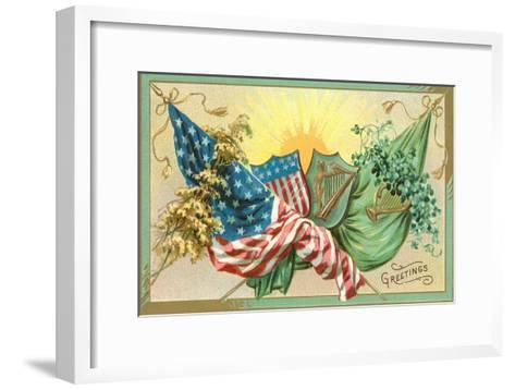 St. Patrick's Day, U.S. and Irish Flags--Framed Art Print