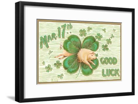 St. Patrick's Day, Pig and Shamrock--Framed Art Print