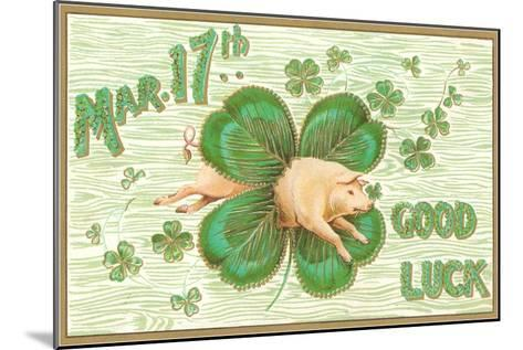 St. Patrick's Day, Pig and Shamrock--Mounted Art Print