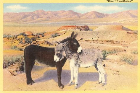 Desert Sweethearts, Nuzzling Burros--Stretched Canvas Print