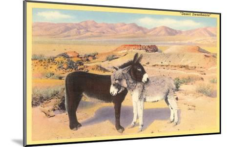 Desert Sweethearts, Nuzzling Burros--Mounted Art Print