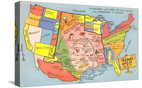 Texan's Map of US--Stretched Canvas Print