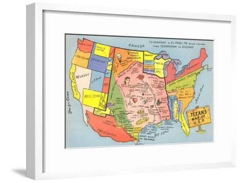 Texan's Map of US--Framed Art Print