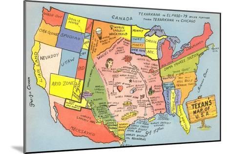 Texan's Map of US--Mounted Art Print