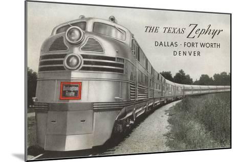 Texas Zephyr, Streamlined Train--Mounted Art Print