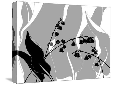 Greyscale Print of Flower Blossom and Leaves--Stretched Canvas Print