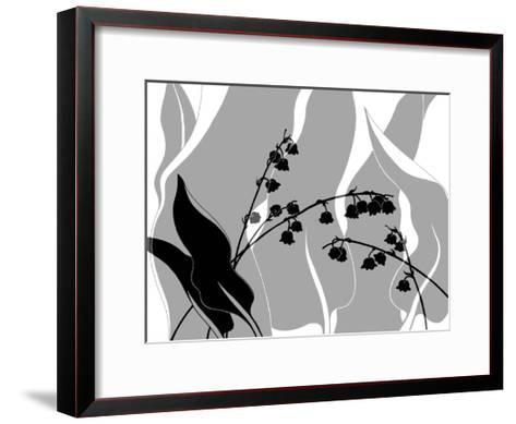 Greyscale Print of Flower Blossom and Leaves--Framed Art Print