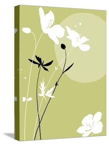 Black and White Flowers on Olive Background--Stretched Canvas Print