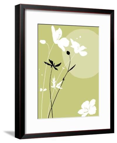 Black and White Flowers on Olive Background--Framed Art Print