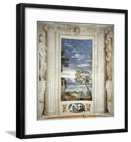 Landscape and Dog-Paolo Veronese-Framed Art Print