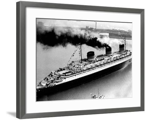Ship Normandie Leaving Havre--Framed Art Print