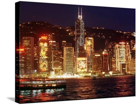 The Buildings are Lit up for the Handover Celebrations, Hong Kong 26, June 1997--Stretched Canvas Print