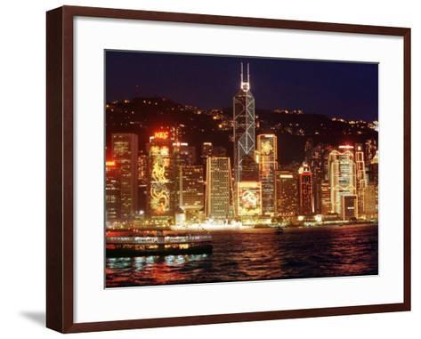 The Buildings are Lit up for the Handover Celebrations, Hong Kong 26, June 1997--Framed Art Print