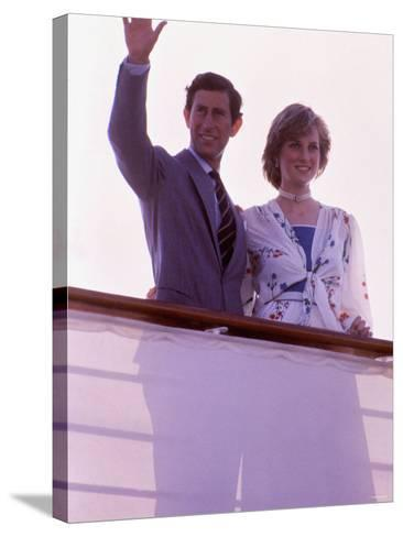Prince Charles and Princess Diana Standing Together on Board Ship to Start Their Honeymoon--Stretched Canvas Print