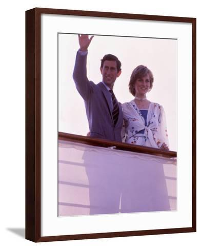 Prince Charles and Princess Diana Standing Together on Board Ship to Start Their Honeymoon--Framed Art Print